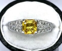 1.33ct Golden Yellow Sapphire And Diamond Ring - 18ct White Gold - Size M - Bnwt