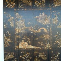 96 Inch Tall Baker Furniture 4 Panel Room Divider-coromandel-chinoserie-mcmillen