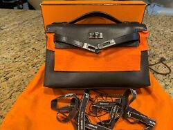 Hermes Cafe Swift Leather Kelly Pochette Clutch Bag with Palladium Hardware