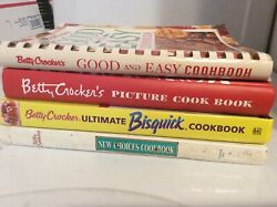 Lot Of 4 Vintage Betty Crocker Cookbooks Picture Cookbook, Bisquick, Good And Easy