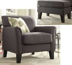 Dark Gray Furniture Accent Chair And/or Ottoman Set Charcoal Grey Room Chairs