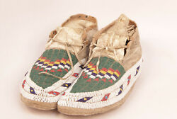 Antique Sioux Beadwork Moccasins W/ Seed Beads Sinew Sewn C1880s 10.5 Nr Mint