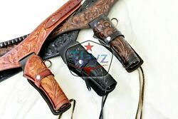 New 44/45 Right Hand Tooled Holster Leather Western Rig Gun Belt Drop Loop Sass