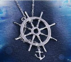 One Piece Luffy Rudder Anchor Pendant Necklace Embossment S925 Jewelry