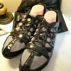 Nike Zoom Mens Black Racing Shoes With Spikes Tool Bag Size 13