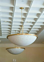 Large Mid Century Modern Pendant Chandelier 48 Wide, Inverted Bowl, By Winona