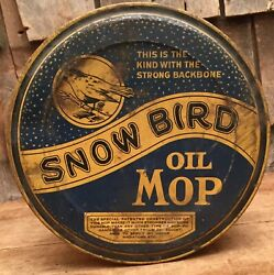 Cool Vintage Snow Bird Oil Mop Gas Service Service Station Advertising Tin Can