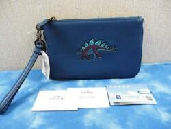 COACH Mint Clutch Bag Dinosaur Blue from Japan Free Shipping