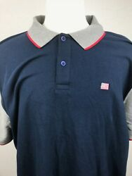 American Flag Embroidered Tri Color Mens Golf Polo Shirt XL St Johns Bay Blue
