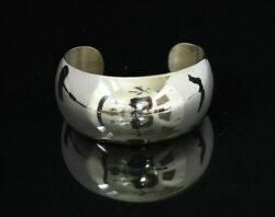Hand Made Art Deco Huge Sterling Silver Bangle 8 - 80 Grams Mirror Finished