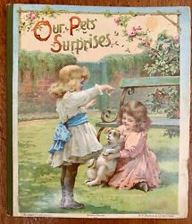 Our Pets' Surprises Rare Nister Antique Movable Book 1900's