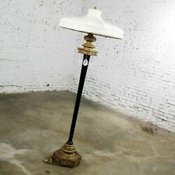 Large Beaux Arts Black And Gilt Floor Lamp With Handmade Shade And Teardrop Pendants