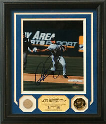 Alex Rodriguez Signed 8x10 Photo Game Used Bat Coin Framed Auto Steiner Le /60