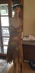 Sue Wong Vintage Beaded Unique Pattern Green And Brown Sheer Dress 12