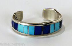 Navajo Silver Lapis And Turquoise Bracelet By Ray Tracey 5 1/8 + 1 Gap