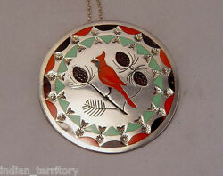 Zuni Sterling Silver Pin /w Inlaid Stones By Albert And Dolly Bantea C.1970 3
