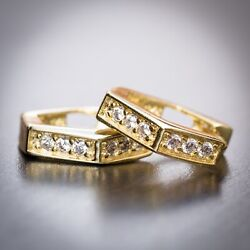 Mens High Quality 925 Sterling Silver 14k Gold Cz Octagon Small Hoop Earrings