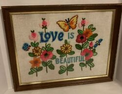 VTG Hippie 60's Flower Power Completed Floral 18 X 14 Embroidery Love Beautiful