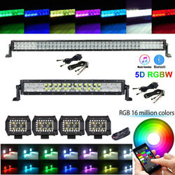 5d Rgb 42inch + 22 Led Light Bar + 4 Rgb Halo Spot Pods Offroad Fit For Jeep
