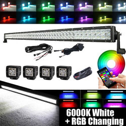 52inch Led Light Bar Offroad Rgb Bluetooth Control And Wiring + 4x 3 Halo Pods