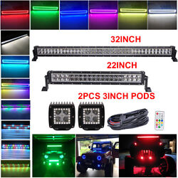 32inch Led Light Bar + 22in + 2x 3 Pods W/ Rgb Halo For Offroad Suv Ford Jeep