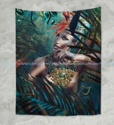 jungle exotic girl fantasy wall hanging tapestry window curtain wall