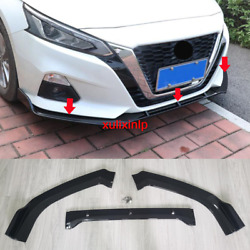 FOR Nissan NEW Altima 2019 ABS Gloss black Front Bumper Lip Cover Trim 3pcs