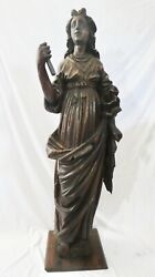 """Antique Hand Carved Oak, 49""""h Cathedral-size Statue Of Saint Mary Magdalene."""