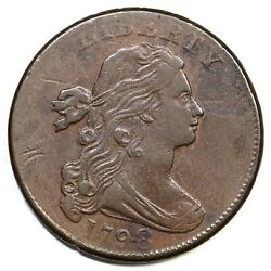 1798 S-166 2nd Hair, Lg 8 Draped Bust Large Cent Coin 1c