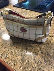***NWT Coach Handbag Peyton Tattersall Plaid Duffle Shoulder Bag Beige