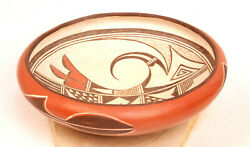 Large 11 X 4 Hopi Redware Pottery Bowl By Marcia Rickey Ant Woman1918-1991