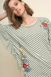 Xl-plus 1xl Umgee Latte Olive Stripe Embroidered Butterfly Blouse/tunic/top Bhcs