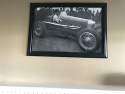 Vintage 1930andrsquos Paul Young Racing Photo Enlarged And Framed W/racerandrsquos History Nice