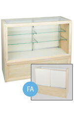 Full Vision Display Case In Glass White 38h X 18d X 70l Inch 2 Adjustable Shelf