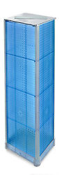 Styrene Blue Square Spinner Pegboard Display 16w X 60h With Metal Base