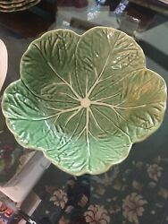 Bordallo Pinheiro 11.5 Green Cabbage Leaf Salad Bowl W/liner Made In Portugal