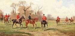 At The Fox Hunt Fox Hunting Canvas Traditional Wall Art Poster Print Horses Dogs