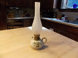 Hand Painted Vintage Fingered Miniature Oil Lamp Marked And Numbered