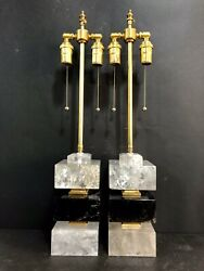 Pair Of Rock Crystal Art Deco Style Lamps Height 25.75 Width 5