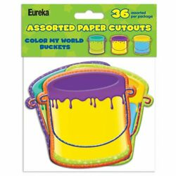 Eureka Color My World Paint Buckets 36 Assorted Paper Cutouts Free Shipping