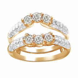 Past Present Future Round Diamonds Ring Guard Solitaire Enhancer Rose Gold 14k