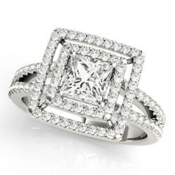 Princess Cut Forever One Moissanite Double Halo Split Band Engagement Ring