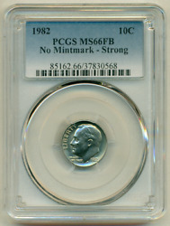 1982 No P Full Bands Pcgs Ms66 Fb No Mintmark ▶ Strong ▶ Key 10c Roosevelt Dime