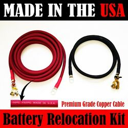 Made In Usa Battery Relocation Kit, 2 Awg Cable, Top Post 25 Ft Red 8 Ft Black