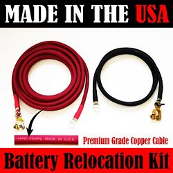 Made In Usa Battery Relocation Kit, 2 Awg Cable, Top Post 12 Ft Red 3 Ft Black