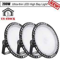 3X 200W Ultra Slim UFO LED High Bay Light Warehouse Factory Shed Fixture IP65