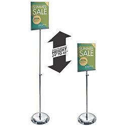 Clear Acrylic Sign Holder 11w X 8.5h Inches With Adjustable Pedestal Stand