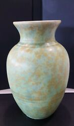 Light Green Crown Ducal Ware Vase Smudged With Blue Orange 248 8 Tall