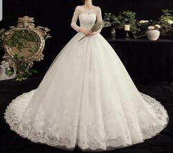 Uk White Ivory Long Sleeve Sequins Tulle Lace A Line Wedding Dresses Size 6-24