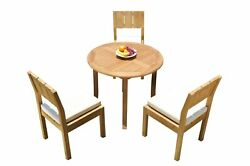 Dsvr A-grade Teak 4pc Dining Set 36 Round Table 3 Arm Chairs Outdoor Patio